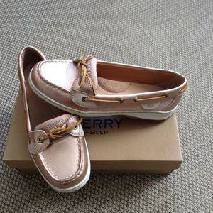 Sperry Top Sider women. Rose gold